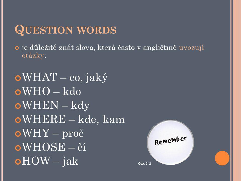 Q UESTION WORDS je důležité znát slova, která často v angličtině uvozují otázky: WHAT – co, jaký WHO – kdo WHEN – kdy WHERE – kde, kam WHY – proč WHOSE – čí HOW – jak Obr.