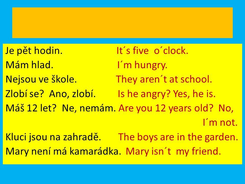 Je pět hodin. It´s five o´clock. Mám hlad. I´m hungry. Nejsou ve škole. They aren´t at school. Zlobí se? Ano, zlobí. Is he angry? Yes, he is. Máš 12 l