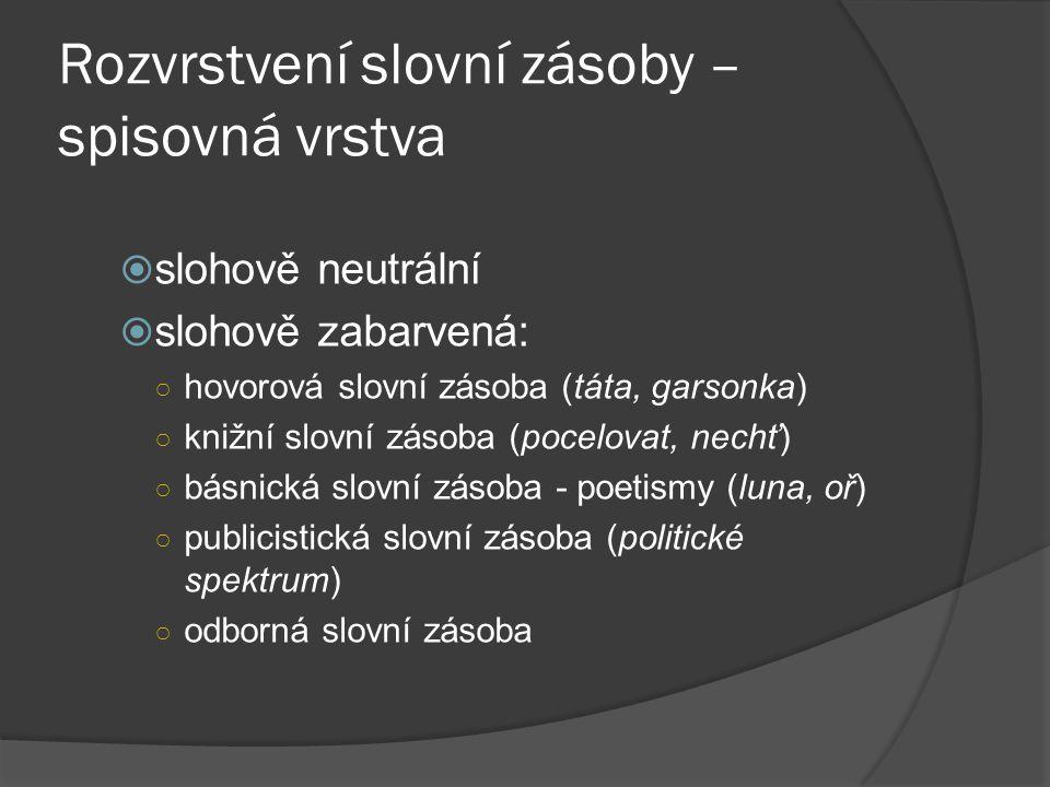 Rozvrstvení slovní zásoby – nespisovná vrstva  obecná čeština (dobrej, vokno)  nářečí  slang – slovní zásoba zájmových skupin (šprt, koule)  profesionalismy – slovní zásoba profesních skupin (pacoš – pacient)  argot – vrstva slovní zásoby užívaná společenskou spodinou, jejím účelem je utajit obsah sdělení před nezasvěcenými posluchači (káča, chlupatí)