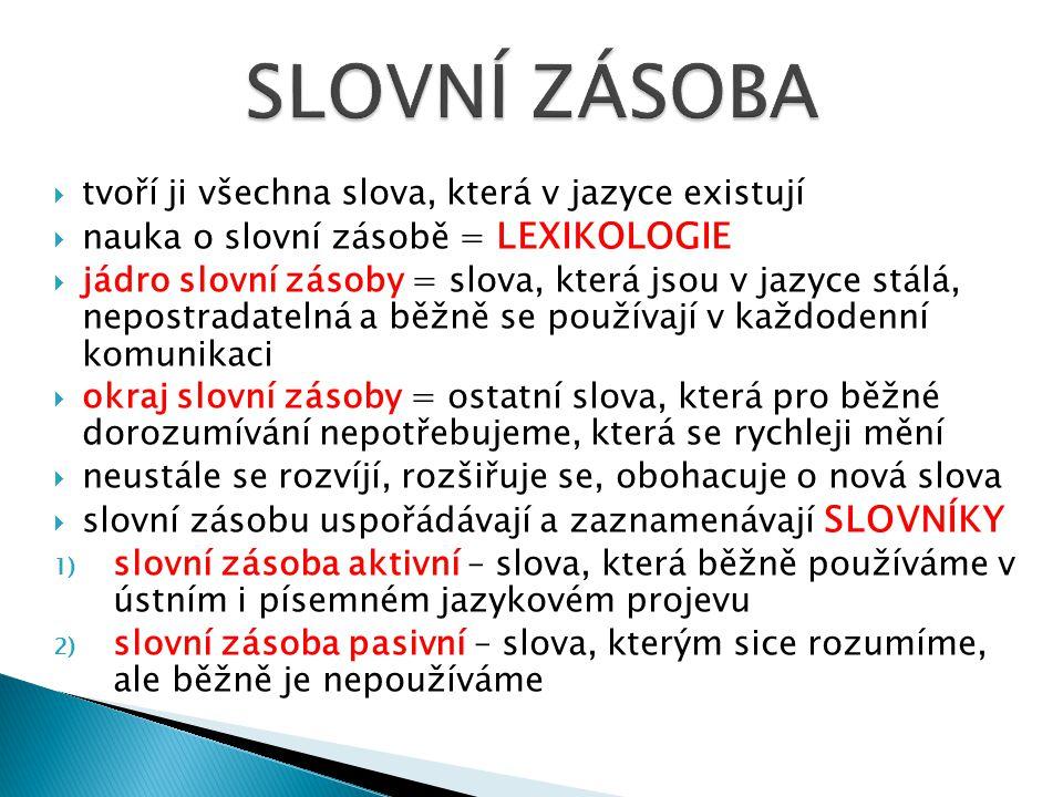 1) překladové – dvou i vícejazyčné 2) výkladové a) jazykové – podávají výklad významu slova (jeho původ, výslovnost, mluvnické poučení, použití slova), např.