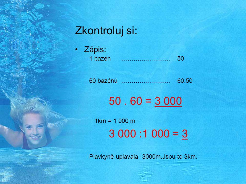Zkontroluj si: Zápis: 1 bazén …………………… 50 60 bazénů …………………… 60.50 50. 60 = 3 000 3 000 :1 000 = 3 Plavkyně uplavala 3000m.Jsou to 3km. 1km = 1 000 m