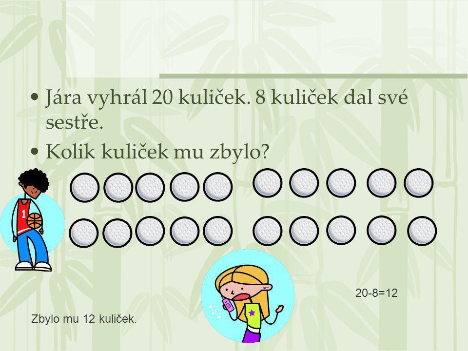 Jára vyhrál 20 kuliček. 8 kuliček dal své sestře. Kolik kuliček mu zbylo? 20-8=12 Zbylo mu 12 kuliček.