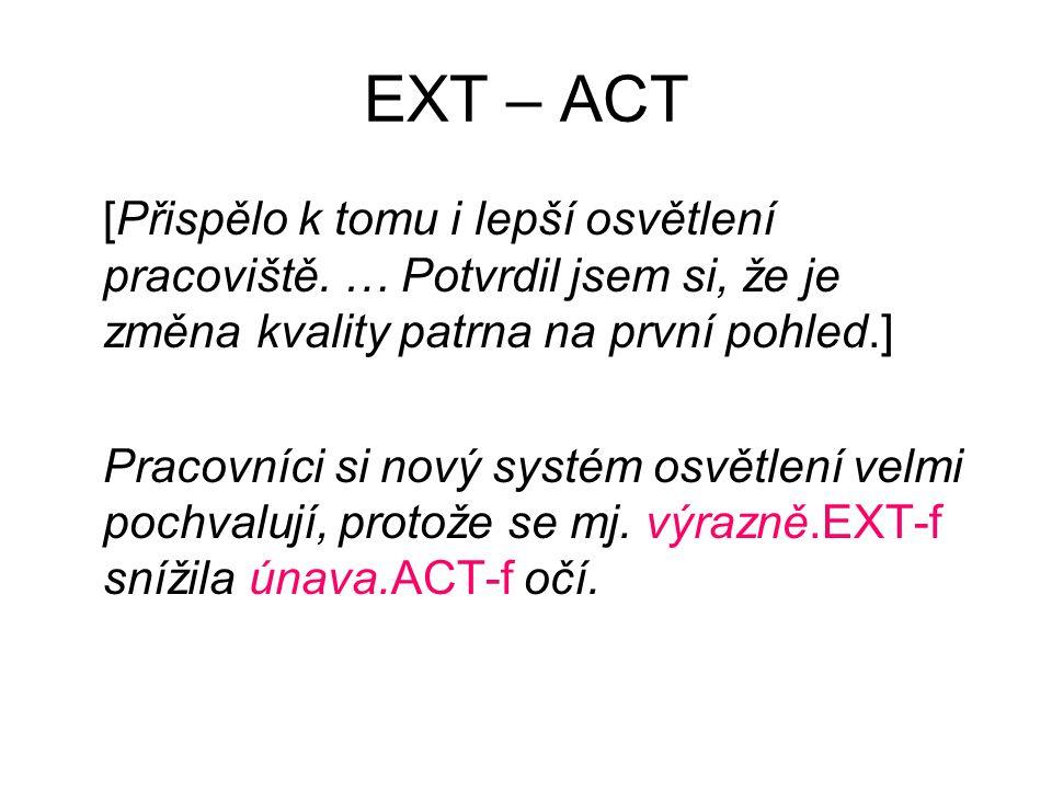 EXT – ACT [Přispělo k tomu i lepší osvětlení pracoviště.