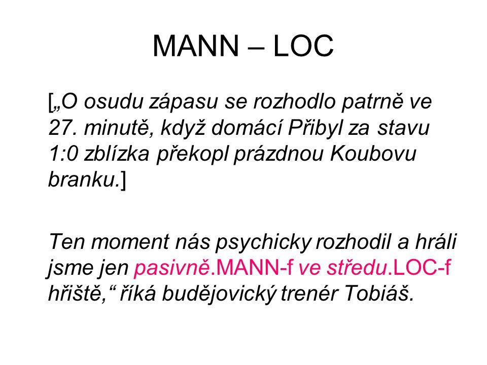"""MANN – LOC [""""O osudu zápasu se rozhodlo patrně ve 27."""