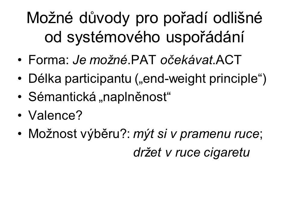 """Možné důvody pro pořadí odlišné od systémového uspořádání Forma: Je možné.PAT očekávat.ACT Délka participantu (""""end-weight principle ) Sémantická """"naplněnost Valence."""
