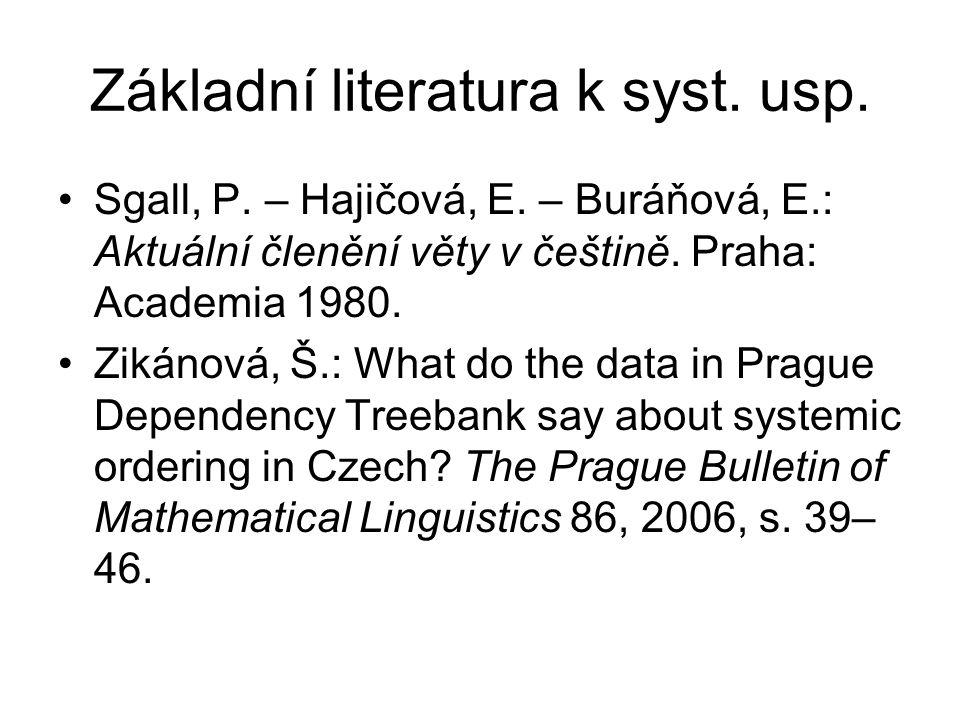 Základní literatura k syst. usp. Sgall, P. – Hajičová, E.