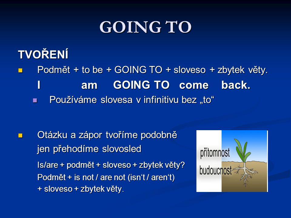 GOING TO TVOŘENÍ Podmět + to be + GOING TO + sloveso + zbytek věty.
