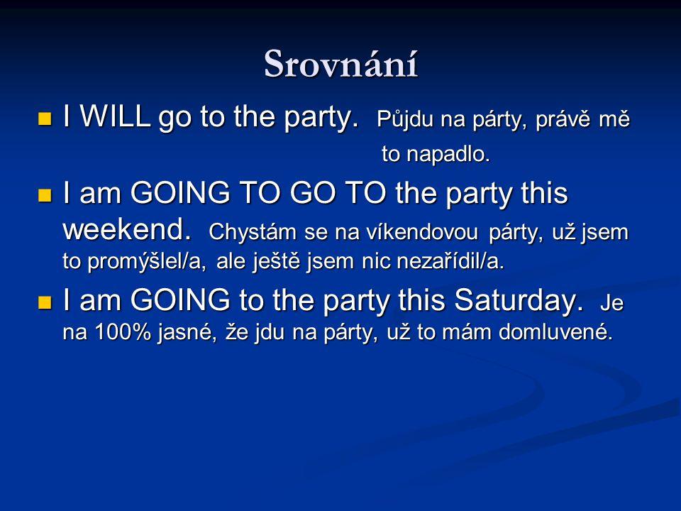 Srovnání I WILL go to the party.Půjdu na párty, právě mě I WILL go to the party.