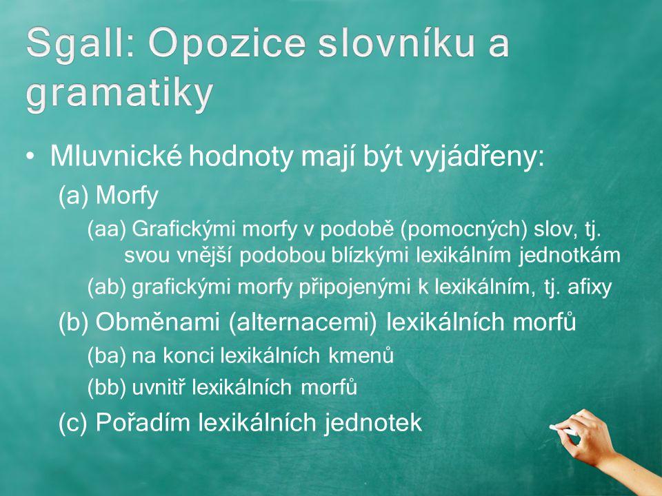 Mluvnické hodnoty mají být vyjádřeny: (a)Morfy (aa) Grafickými morfy v podobě (pomocných) slov, tj. svou vnější podobou blízkými lexikálním jednotkám
