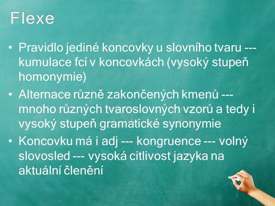 Pravidlo jediné koncovky u slovního tvaru --- kumulace fcí v koncovkách (vysoký stupeň homonymie) Alternace různě zakončených kmenů --- mnoho různých