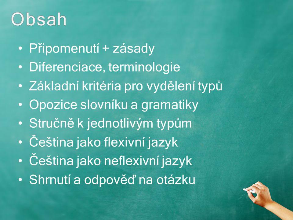 Připomenutí + zásady Diferenciace, terminologie Základní kritéria pro vydělení typů Opozice slovníku a gramatiky Stručně k jednotlivým typům Čeština j