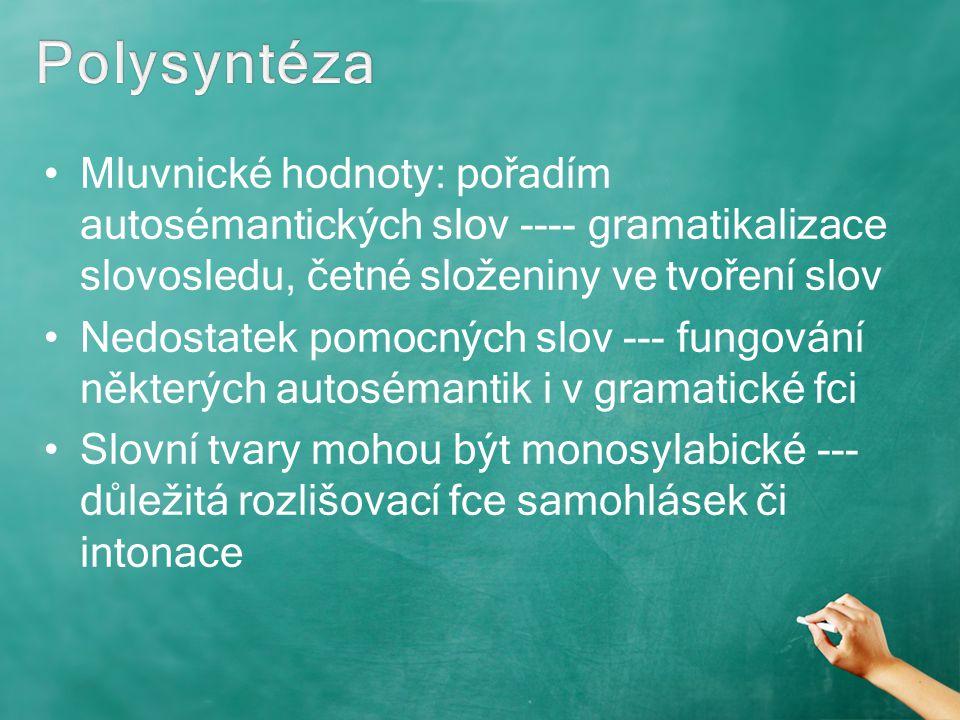Mluvnické hodnoty: pořadím autosémantických slov ---- gramatikalizace slovosledu, četné složeniny ve tvoření slov Nedostatek pomocných slov --- fungov