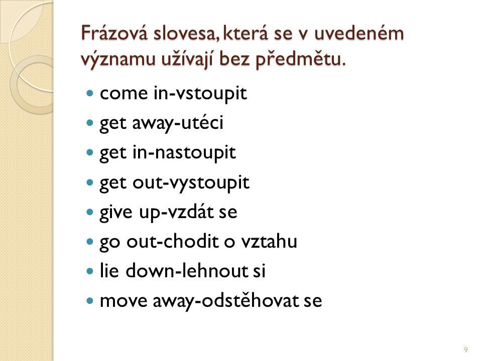 Frázová slovesa, která se v uvedeném významu užívají bez předmětu.