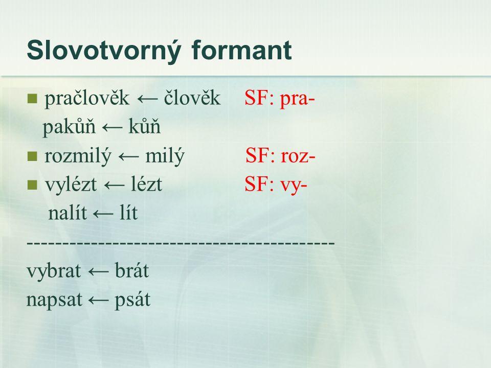Slovotvorný formant pračlověk ← člověk SF: pra- pakůň ← kůň rozmilý ← milý SF: roz- vylézt ← lézt SF: vy- nalít ← lít ------------------------------------------- vybrat ← brát napsat ← psát