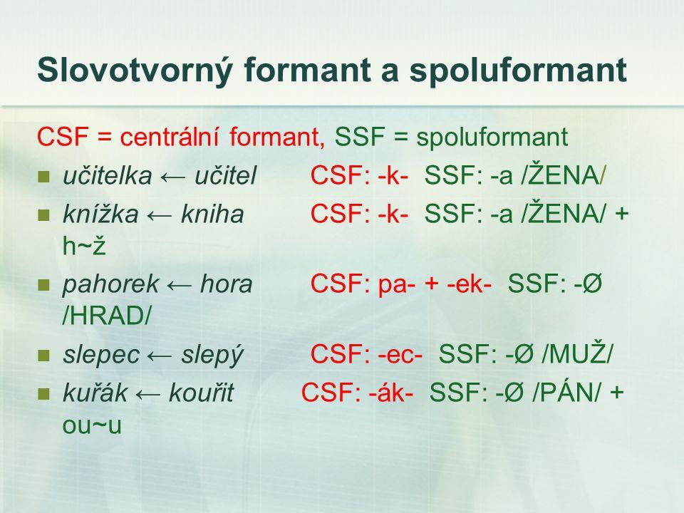 Slovotvorný formant a spoluformant CSF = centrální formant, SSF = spoluformant učitelka ← učitel CSF: -k- SSF: -a /ŽENA/ knížka ← knihaCSF: -k- SSF: -a /ŽENA/ + h~ž pahorek ← horaCSF: pa- + -ek- SSF: -Ø /HRAD/ slepec ← slepý CSF: -ec- SSF: -Ø /MUŽ/ kuřák ← kouřit CSF: -ák- SSF: -Ø /PÁN/ + ou~u