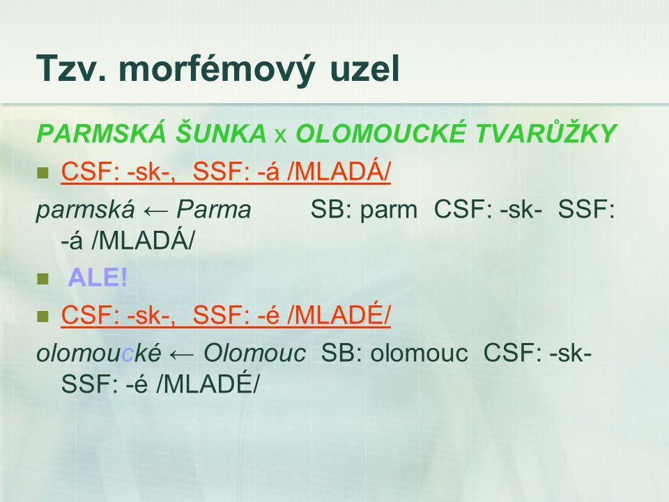 Tzv. morfémový uzel PARMSKÁ ŠUNKA x OLOMOUCKÉ TVARŮŽKY CSF: -sk-, SSF: -á /MLADÁ/ parmská ← Parma SB: parm CSF: -sk- SSF: -á /MLADÁ/ ALE! CSF: -sk-, S