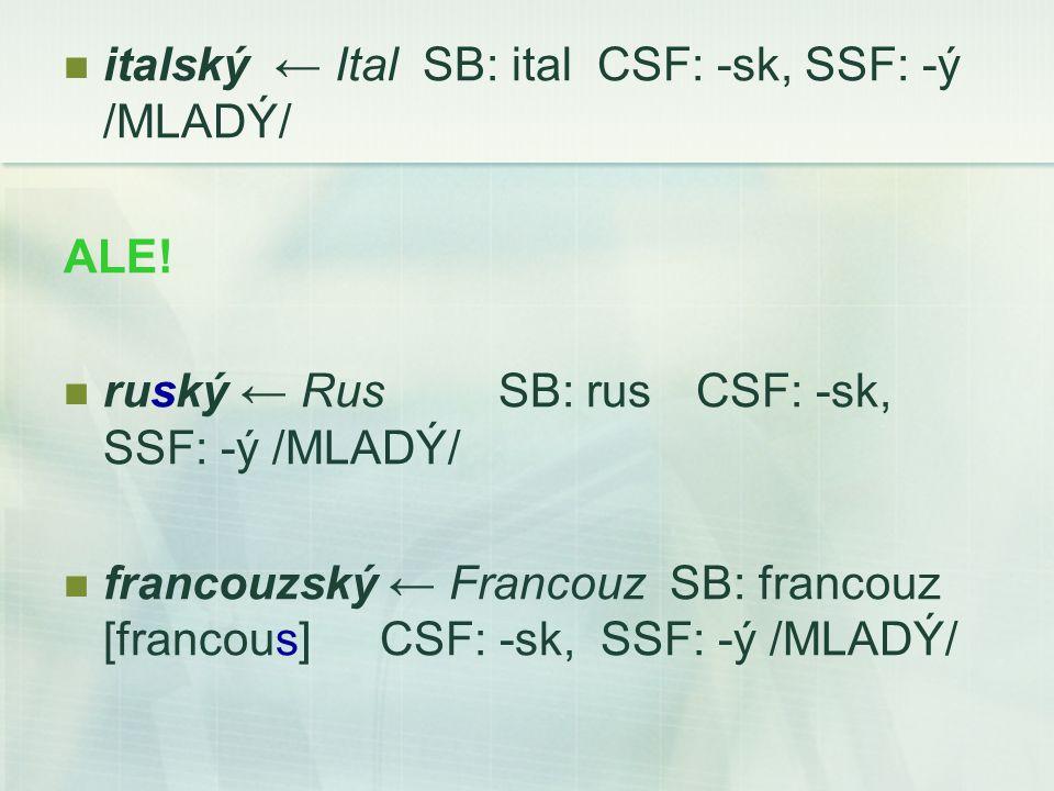 italský ← Ital SB: ital CSF: -sk, SSF: -ý /MLADÝ/ ALE.