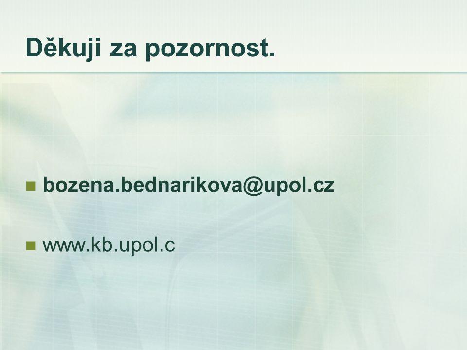 Děkuji za pozornost. bozena.bednarikova@upol.cz www.kb.upol.c