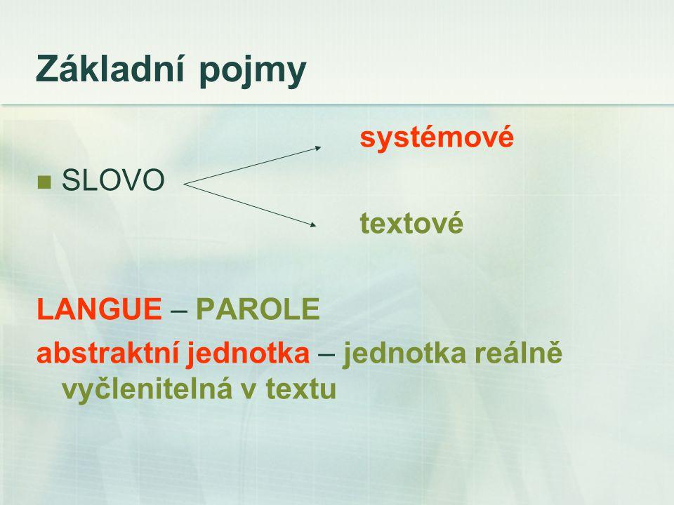 Základní pojmy systémové SLOVO textové LANGUE – PAROLE abstraktní jednotka – jednotka reálně vyčlenitelná v textu