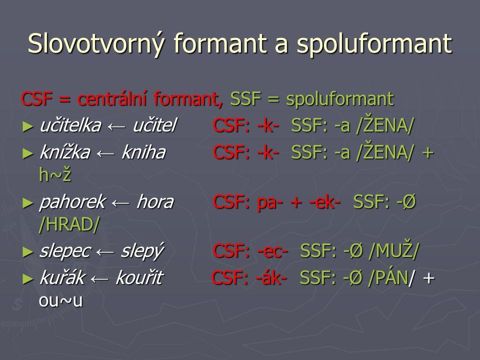Slovotvorný formant a spoluformant CSF = centrální formant, SSF = spoluformant ► učitelka ← učitel CSF: -k- SSF: -a /ŽENA/ ► knížka ← knihaCSF: -k- SSF: -a /ŽENA/ + h~ž ► pahorek ← horaCSF: pa- + -ek- SSF: -Ø /HRAD/ ► slepec ← slepý CSF: -ec- SSF: -Ø /MUŽ/ ► kuřák ← kouřit CSF: -ák- SSF: -Ø /PÁN/ + ou~u