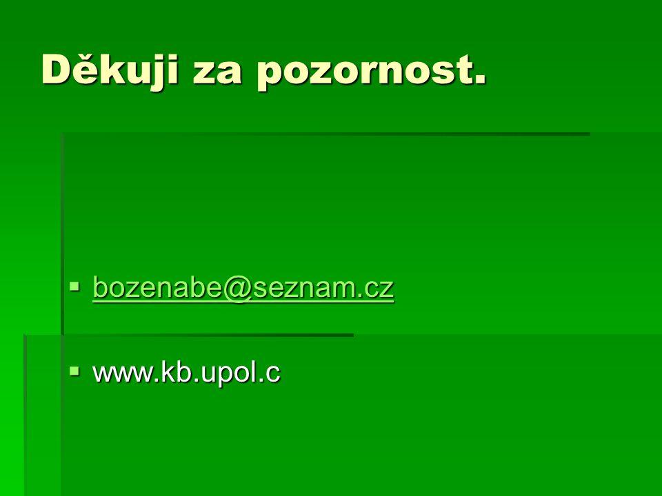 Děkuji za pozornost.  bozenabe@seznam.cz bozenabe@seznam.cz  www.kb.upol.c