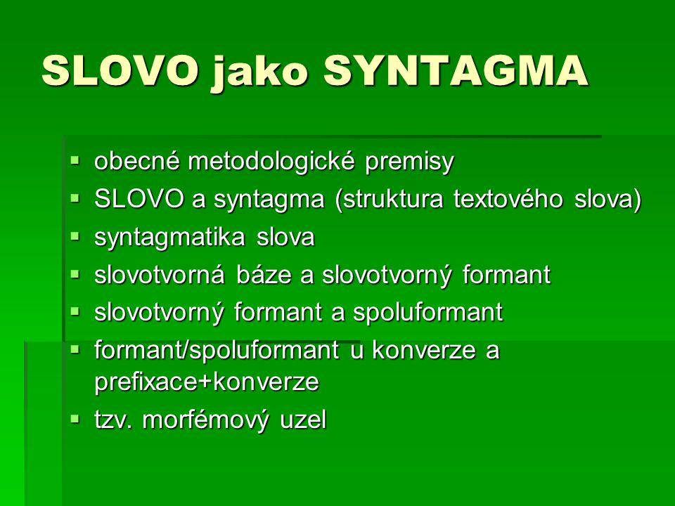 Slovo jako syntagma Obecné metodologické premisy Obecné metodologické premisy - gnozeologický přístup k systému k systému - posun od jevové stránky ke stránce podstatné - funkčnost - syntagmatičnost