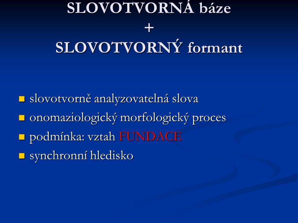 SLOVOTVORNÁ báze + SLOVOTVORNÝ formant slovotvorně analyzovatelná slova slovotvorně analyzovatelná slova onomaziologický morfologický proces onomaziologický morfologický proces podmínka: vztah FUNDACE podmínka: vztah FUNDACE synchronní hledisko synchronní hledisko
