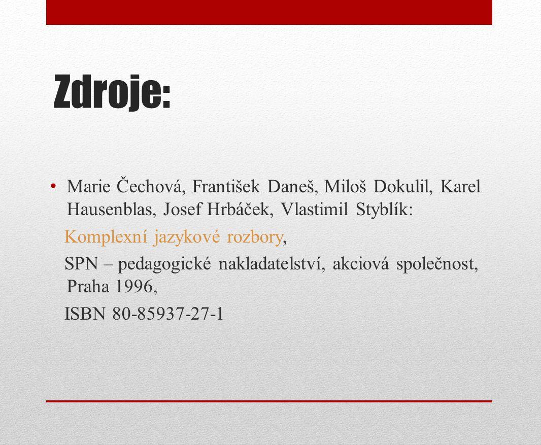 Zdroje: Marie Čechová, František Daneš, Miloš Dokulil, Karel Hausenblas, Josef Hrbáček, Vlastimil Styblík: Komplexní jazykové rozbory, SPN – pedagogic