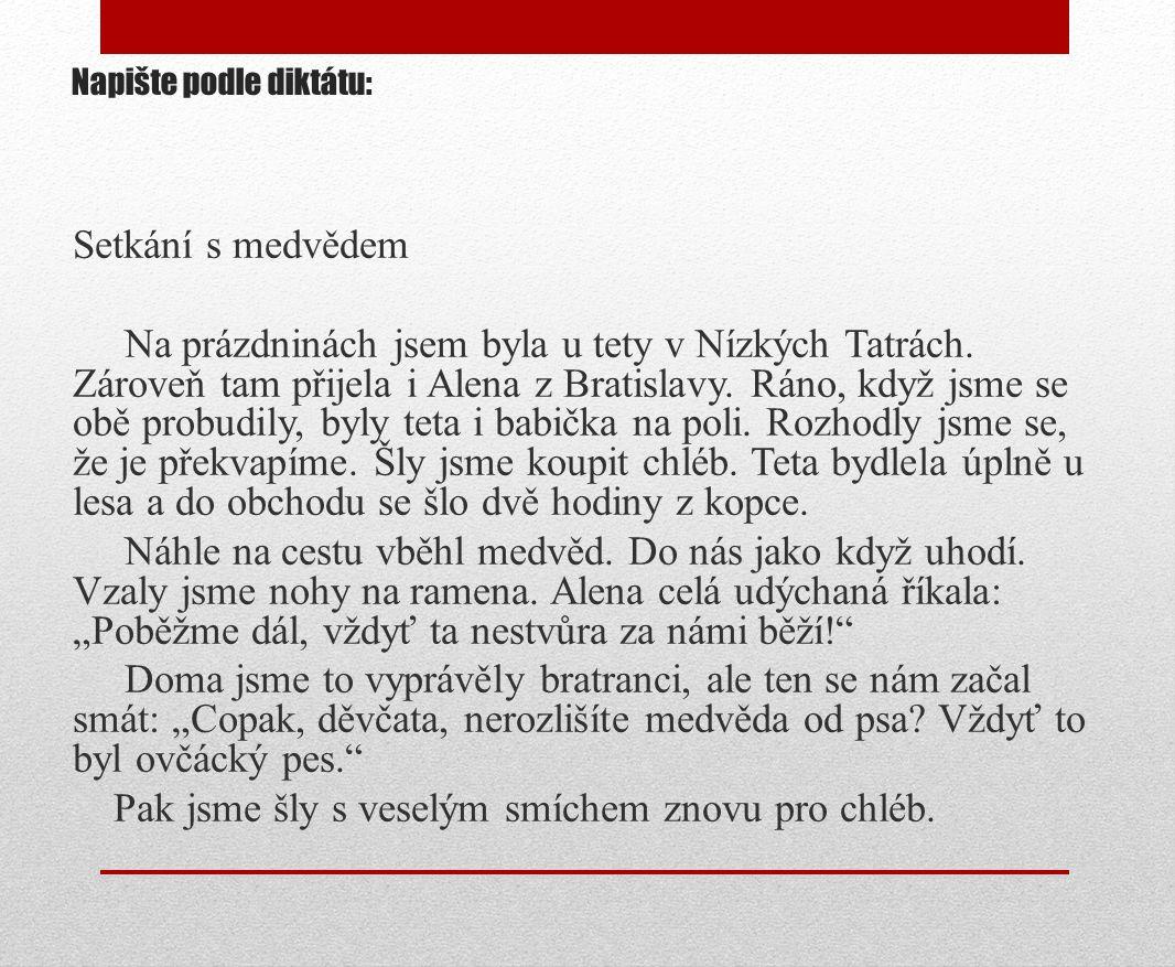 Napište podle diktátu: Setkání s medvědem Na prázdninách jsem byla u tety v Nízkých Tatrách. Zároveň tam přijela i Alena z Bratislavy. Ráno, když jsme
