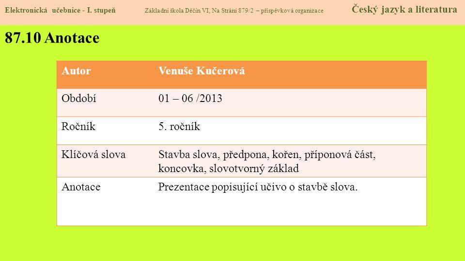 87.10 Anotace Elektronická učebnice - I.