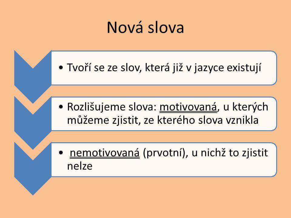 Nová slova Tvoří se ze slov, která již v jazyce existují Rozlišujeme slova: motivovaná, u kterých můžeme zjistit, ze kterého slova vznikla nemotivovan