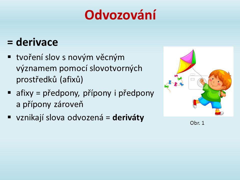 Odvozování = derivace  tvoření slov s novým věcným významem pomocí slovotvorných prostředků (afixů)  afixy = předpony, přípony i předpony a přípony