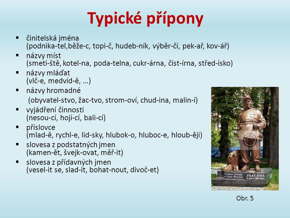 Typické přípony  činitelská jména (podnika-tel,běže-c, topi-č, hudeb-ník, výběr-čí, pek-ař, kov-ář)  názvy míst (smeti-ště, kotel-na, poda-telna, cu