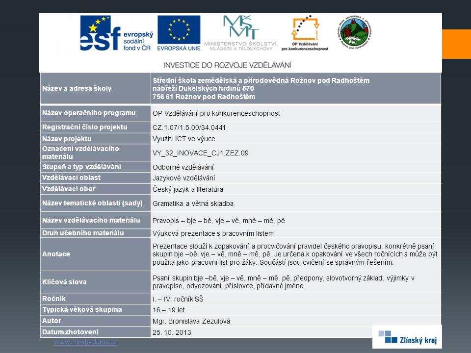Doporučená literatura k opakování VY_32_INOVACE_CJ1.ZEZ.09 Mgr.