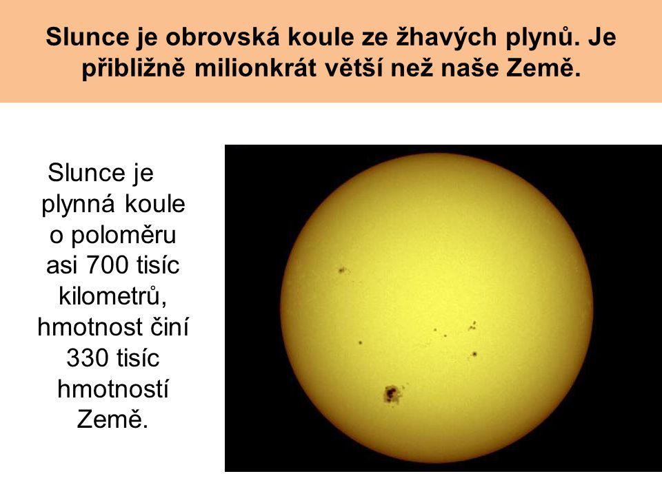 Slunce je obrovská koule ze žhavých plynů. Je přibližně milionkrát větší než naše Země. Slunce je plynná koule o poloměru asi 700 tisíc kilometrů, hmo