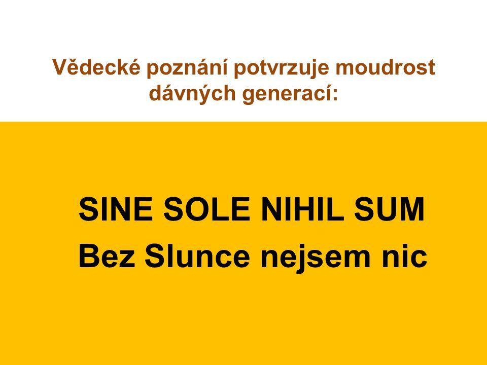 Vědecké poznání potvrzuje moudrost dávných generací: SINE SOLE NIHIL SUM Bez Slunce nejsem nic