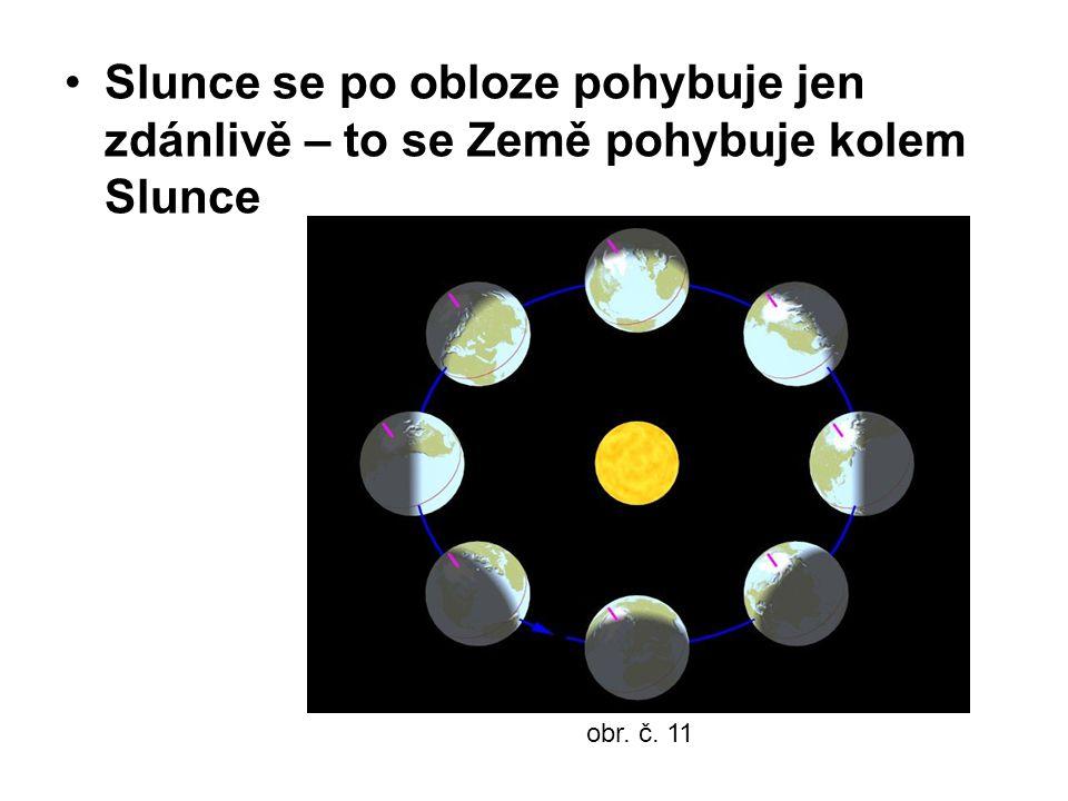 Slunce se po obloze pohybuje jen zdánlivě – to se Země pohybuje kolem Slunce obr. č. 11