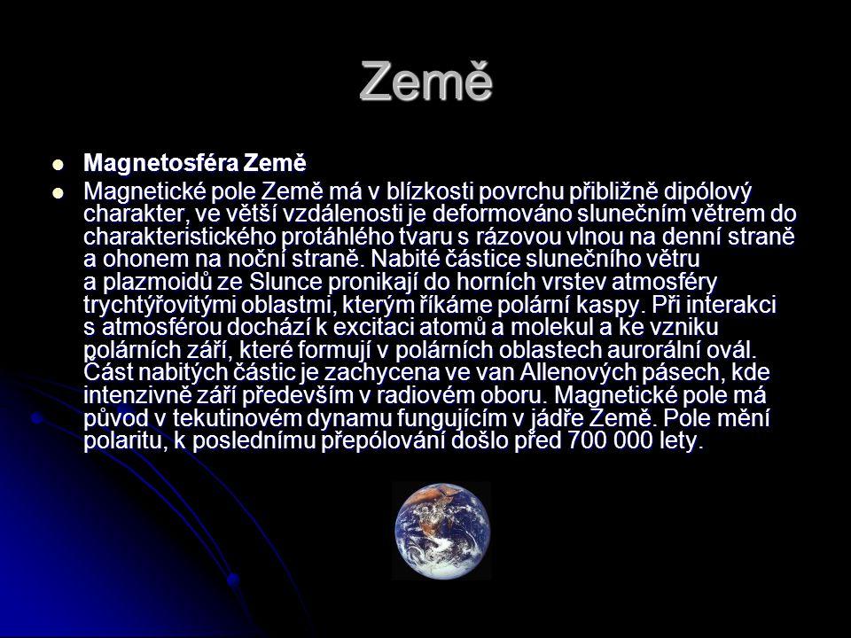 Země Magnetosféra Země Magnetosféra Země Magnetické pole Země má v blízkosti povrchu přibližně dipólový charakter, ve větší vzdálenosti je deformováno