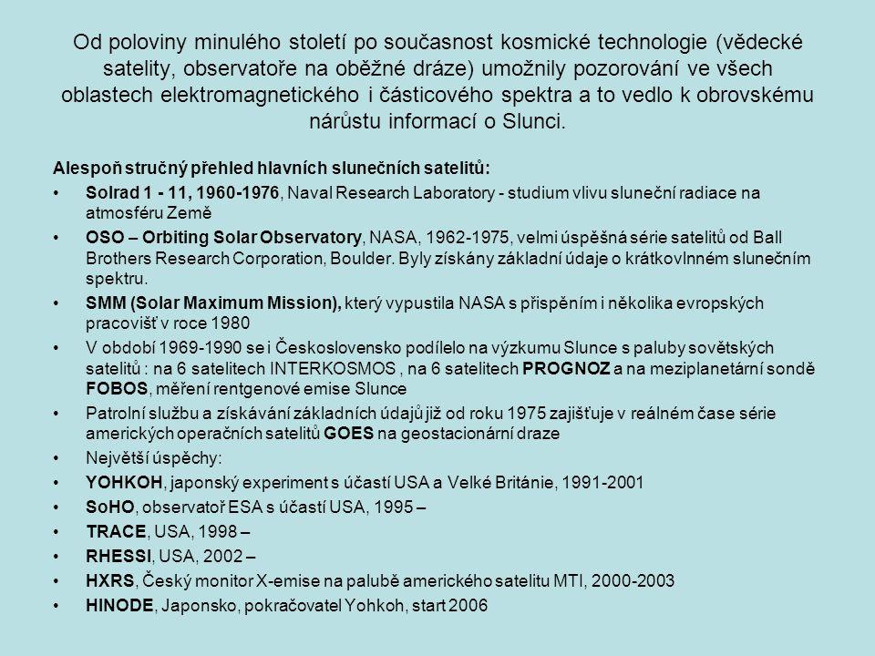Od poloviny minulého století po současnost kosmické technologie (vědecké satelity, observatoře na oběžné dráze) umožnily pozorování ve všech oblastech