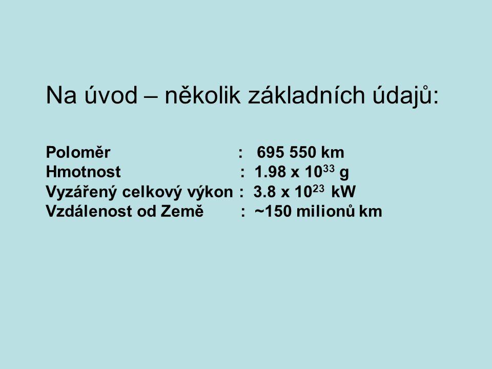 Na úvod – několik základních údajů: Poloměr : 695 550 km Hmotnost : 1.98 x 10 33 g Vyzářený celkový výkon : 3.8 x 10 23 kW Vzdálenost od Země : ~150 m
