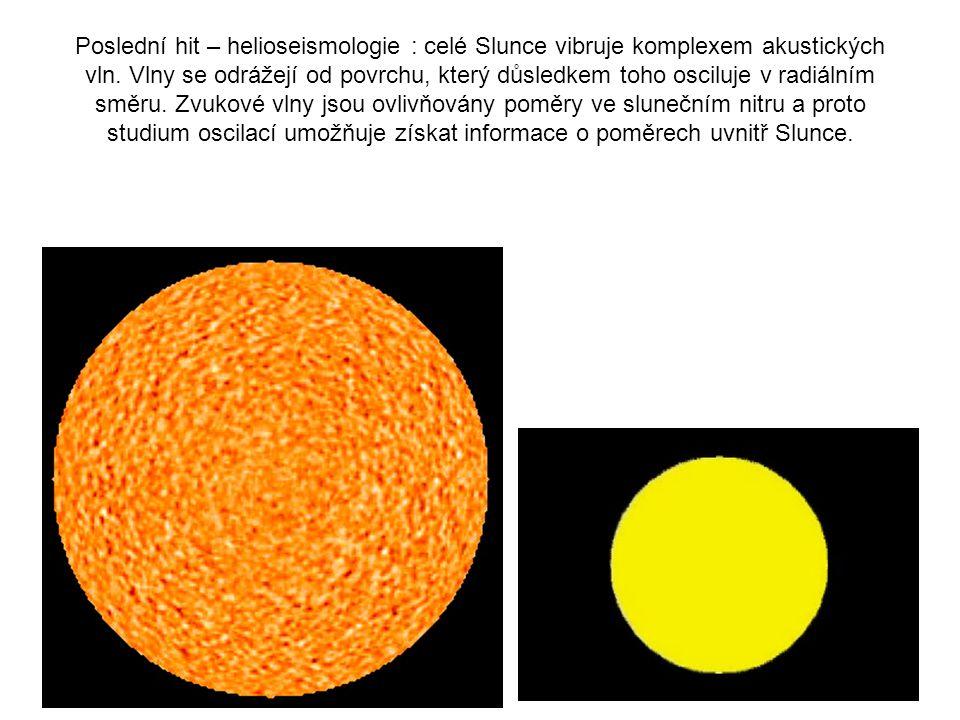 Poslední hit – helioseismologie : celé Slunce vibruje komplexem akustických vln. Vlny se odrážejí od povrchu, který důsledkem toho osciluje v radiální
