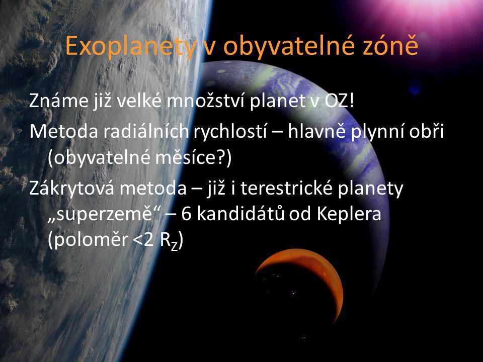 Známe již velké množství planet v OZ! Metoda radiálních rychlostí – hlavně plynní obři (obyvatelné měsíce?) Zákrytová metoda – již i terestrické plane