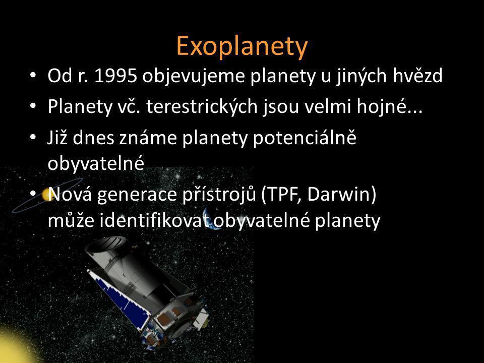 Exoplanety Od r. 1995 objevujeme planety u jiných hvězd Planety vč. terestrických jsou velmi hojné... Již dnes známe planety potenciálně obyvatelné No
