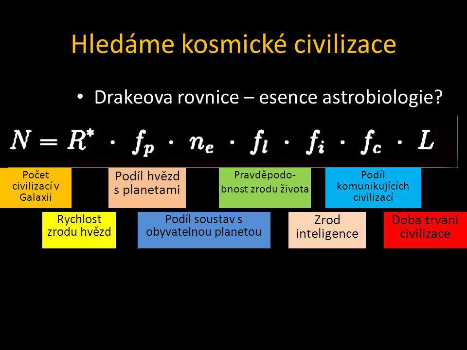 Hledáme kosmické civilizace Drakeova rovnice – esence astrobiologie? Počet civilizací v Galaxii Rychlost zrodu hvězd Podíl hvězd s planetami Podíl sou