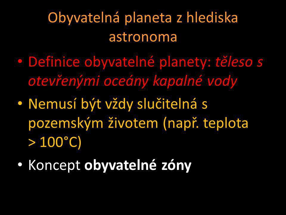 Obyvatelná planeta z hlediska astronoma Definice obyvatelné planety: těleso s otevřenými oceány kapalné vody Nemusí být vždy slučitelná s pozemským ži