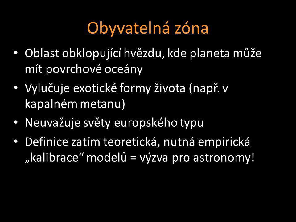 Obyvatelná zóna Oblast obklopující hvězdu, kde planeta může mít povrchové oceány Vylučuje exotické formy života (např. v kapalném metanu) Neuvažuje sv