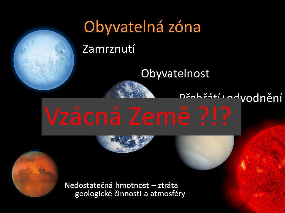 Obyvatelná zóna Zamrznutí Obyvatelnost Přehřátí+odvodnění Nedostatečná hmotnost – ztráta geologické činnosti a atmosféry Hart, 1979: 0,958 – 1,004 AU!