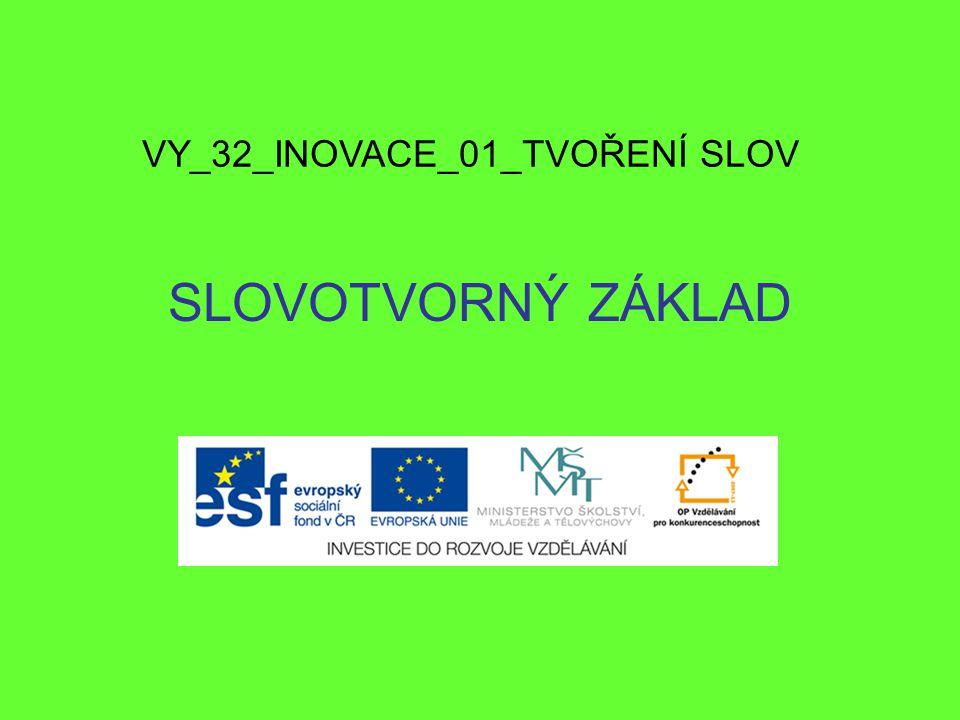 SLOVOTVORNÝ ZÁKLAD VY_32_INOVACE_01_TVOŘENÍ SLOV