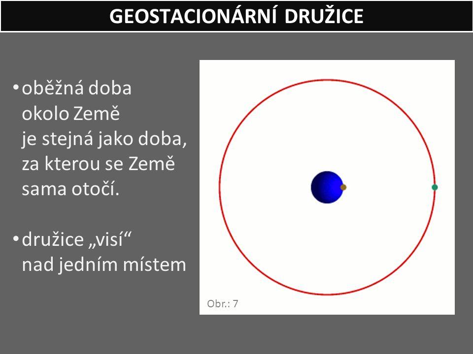 """oběžná doba okolo Země je stejná jako doba, za kterou se Země sama otočí. družice """"visí"""" nad jedním místem GEOSTACIONÁRNÍ DRUŽICE Obr.: 7"""