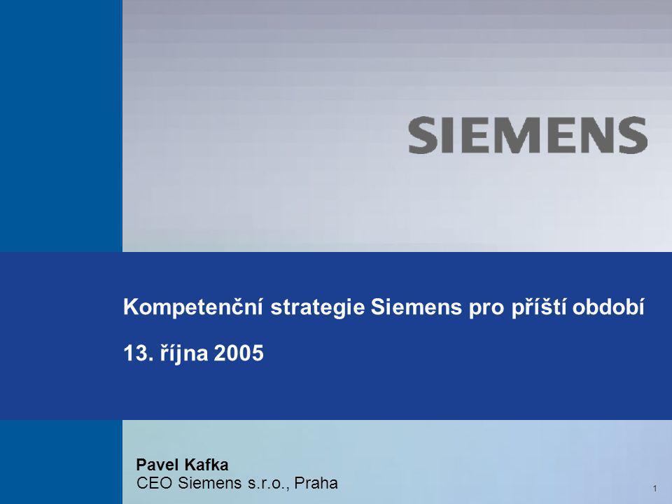 Kompetenční strategie Siemens pro příští období 13. října 2005 Pavel Kafka CEO Siemens s.r.o., Praha 1